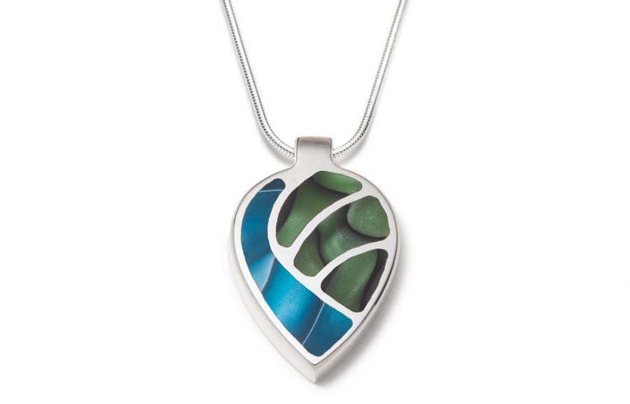 Green and blue silver necklace