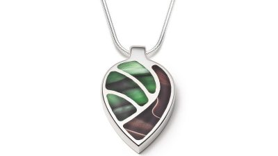 Brown and green silver necklace