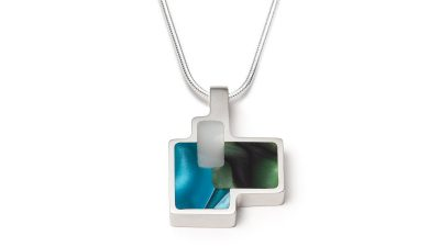 Geometric shaped green and blue silver necklace
