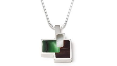 Geometric shaped green and brown silver necklace