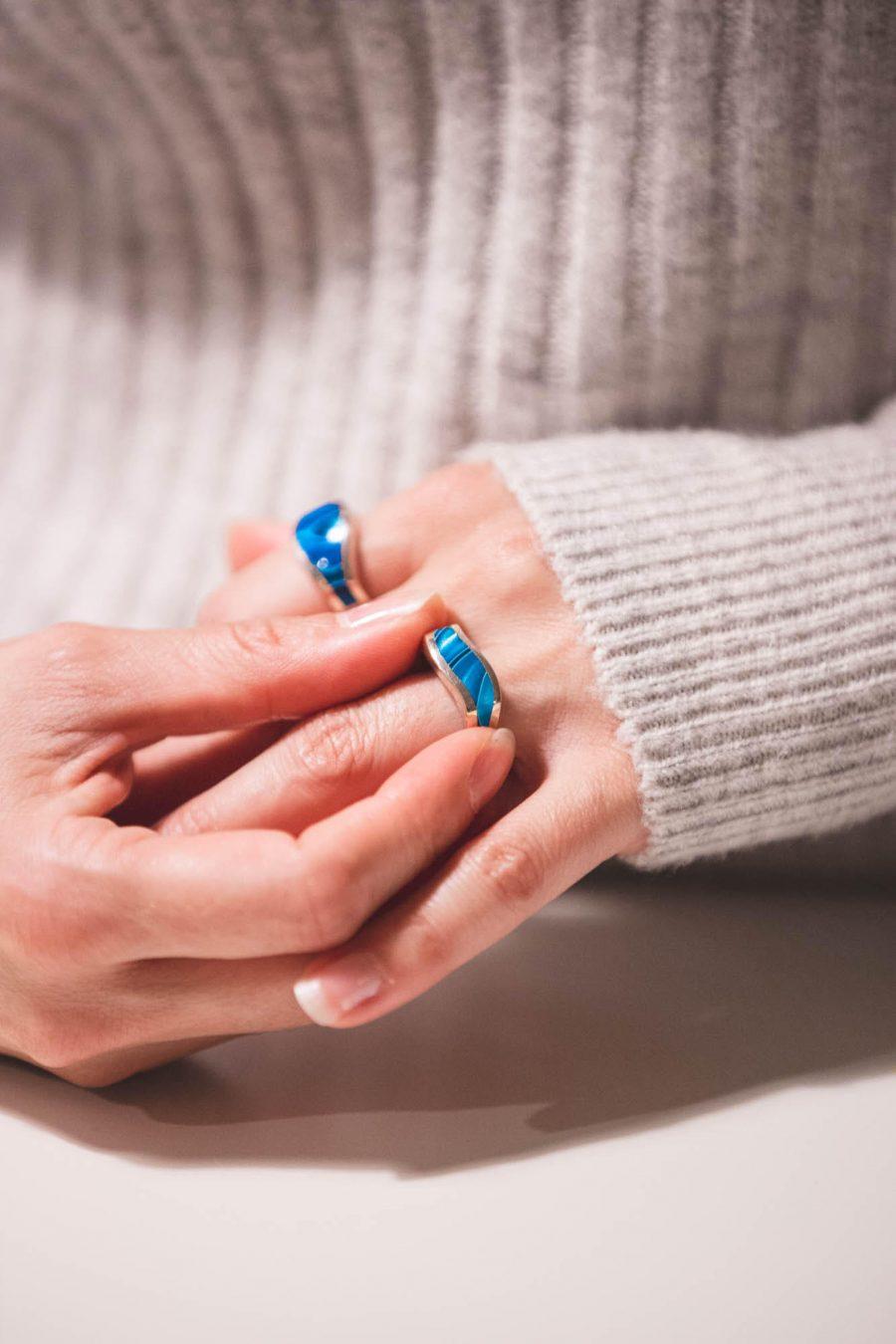 blue silver asymmetrical ring
