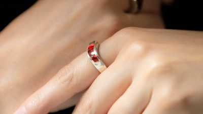 Red silver ring
