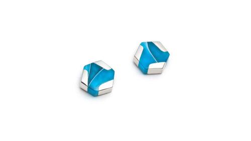 minimalist colourful turquoise silver stud earrings