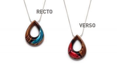 Collier ovale réversible bleu et rouge