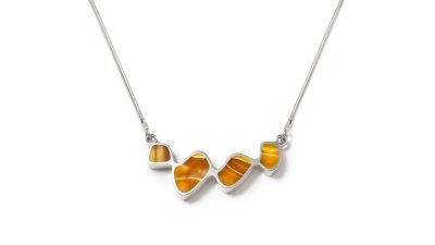 Organic shape yellow silver necklace