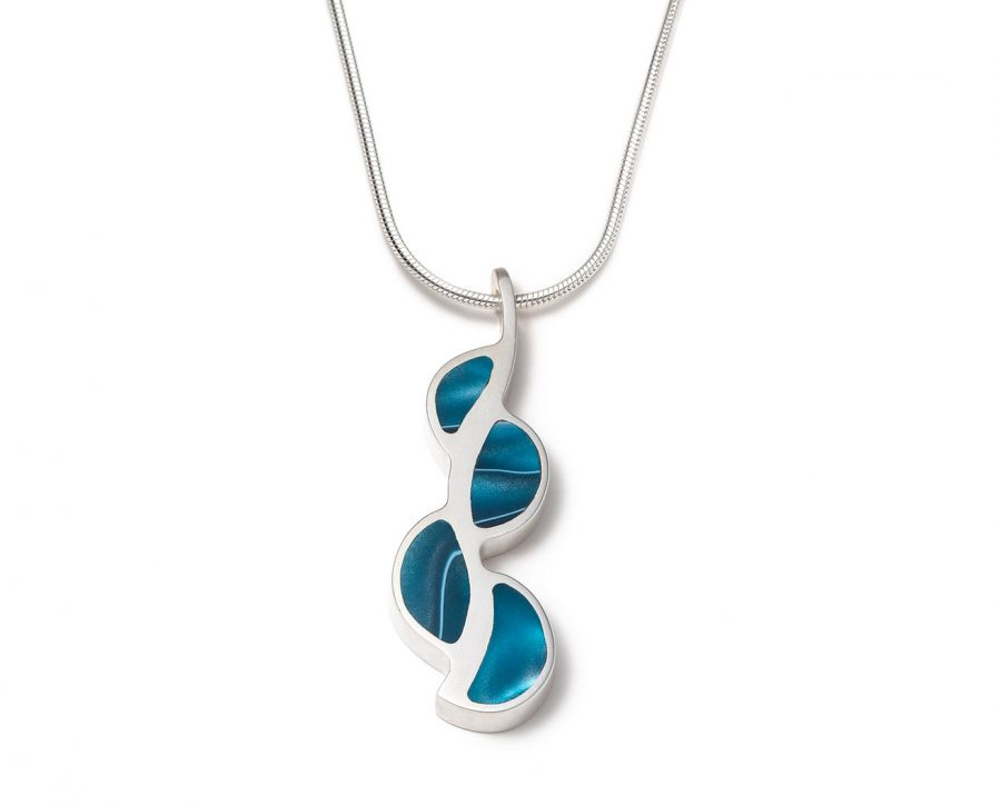 Organic shape blue contemporary silver necklace