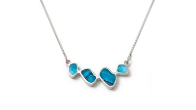 Organic shape blue silver necklace
