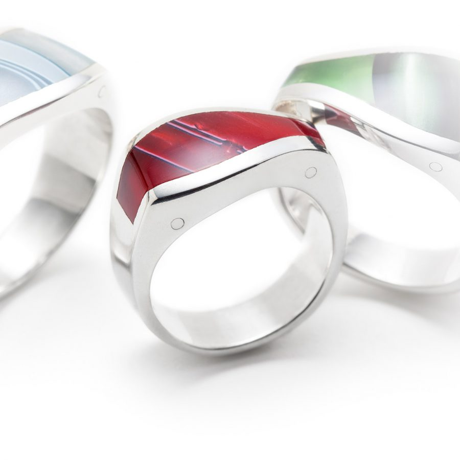 asymmetrical red silver ring