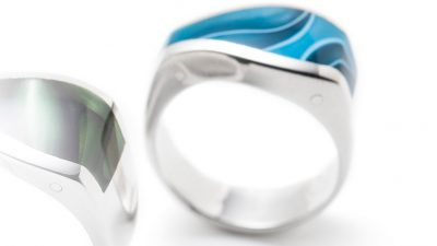 asymmetrical turquoise silver ring