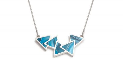 contemporary turquoise triangle silver necklace