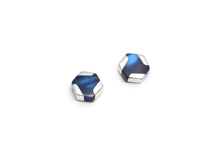 minimalist dark blue silver stud earrings