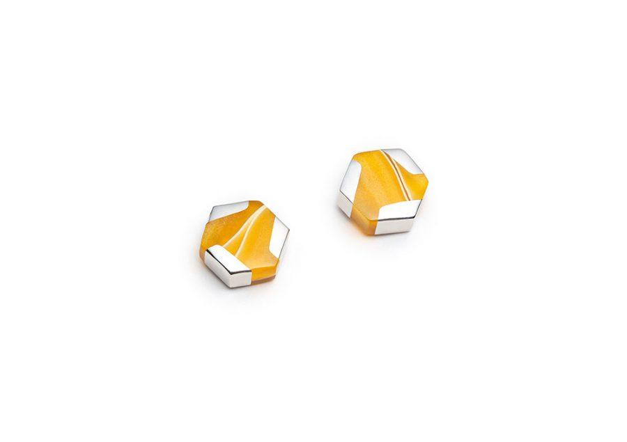 minimalist colourful silver stud earrings