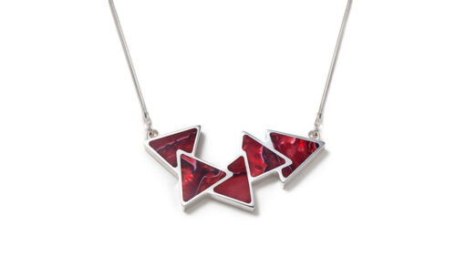 Triangle shape green contemporary silver necklace