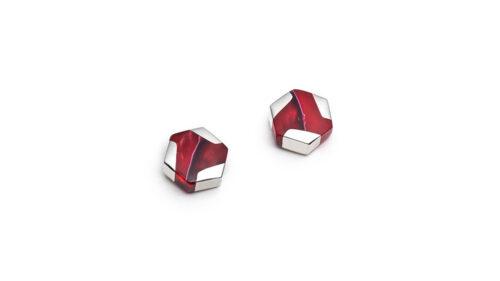 hexagonal silver red stud earrings