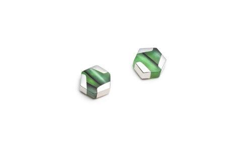hexagonal green silver stud earrings
