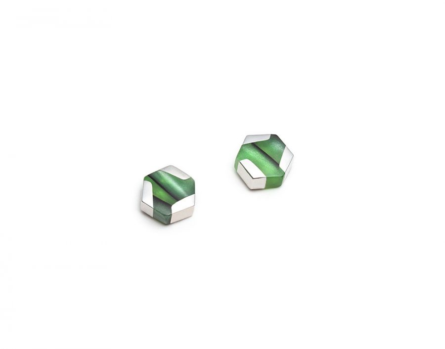 hexagonal green silver stud earrings