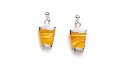 yellow silver dangling earrings