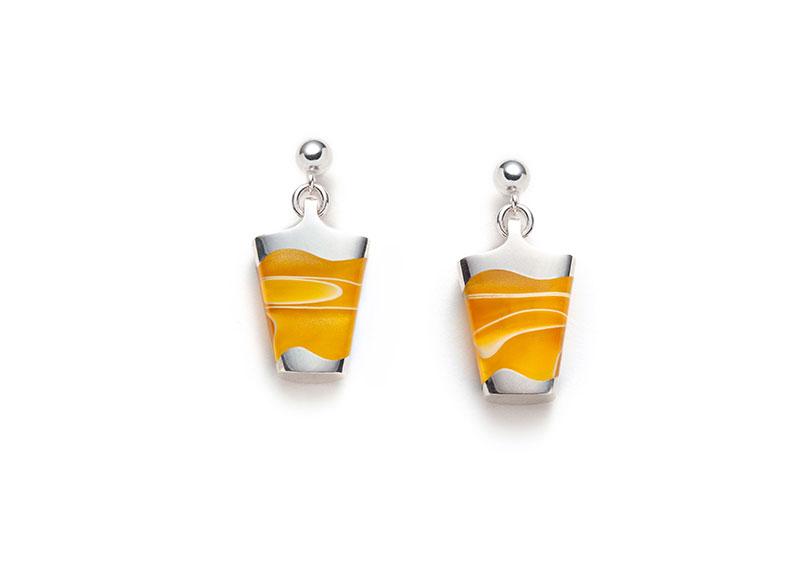 yellow silver dangling earrings