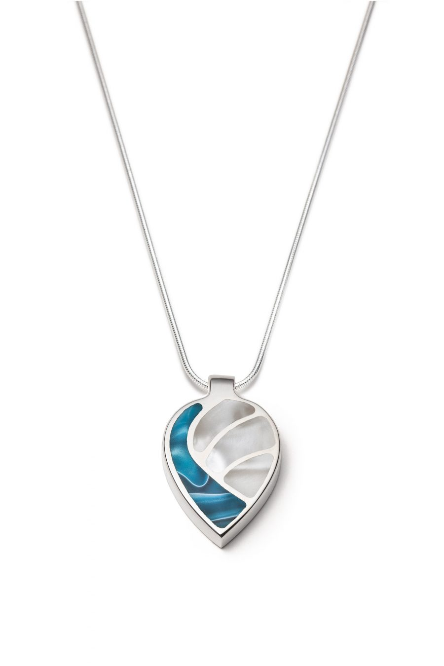 Colourful white and blue silver necklace